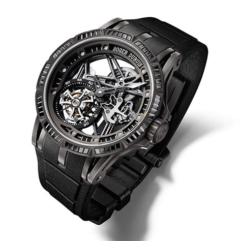roger dubuis debuts the excalibur spider skeleton flying tourbillon with black spinnels at their