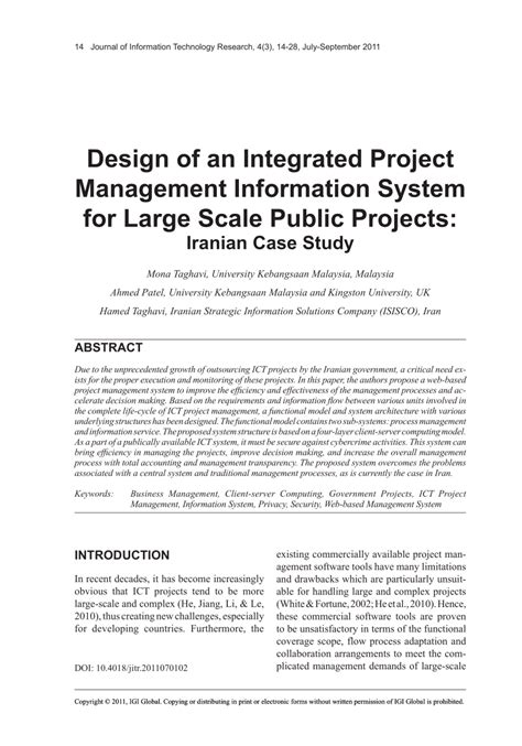 large scale integration project design of an integrated project management information system for large scale projects