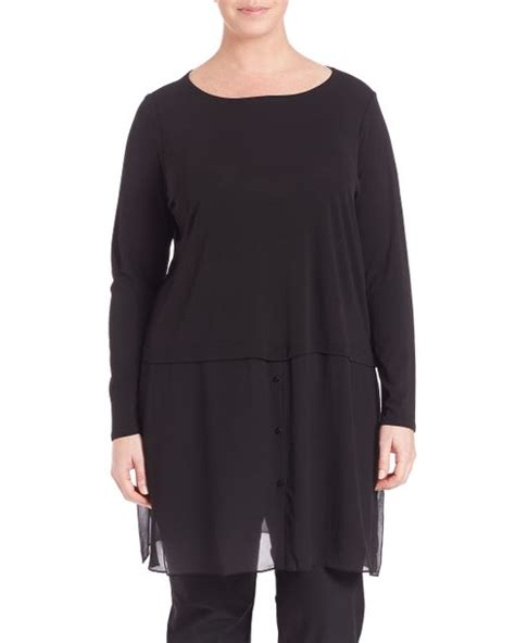58161 Tunic Layer 1 eileen fisher sheer layer silk tunic in black lyst