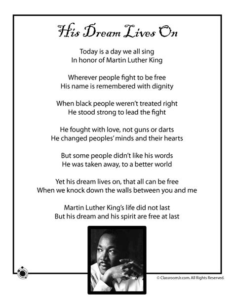 printable black history quotes kids poem martin luther king jr black history month