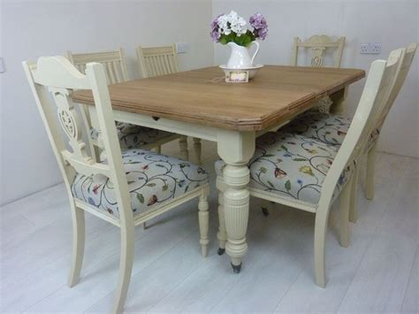 Antique Dining Table And Chairs Wind Out Dining Table And 6 Antique Chairs Painted Vintage Antique Farmhouse Furniture
