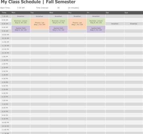 University Course Timetable Template Download