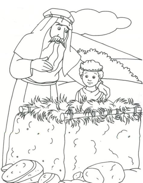 coloring page abraham and isaac abraham isaac by altar genesis 22 coloring bible