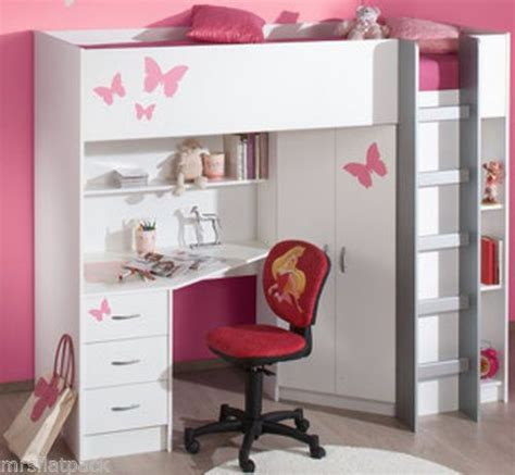 High Bed With Wardrobe And Desk by Cabin Bed Desk Wardrobe High Sleeper White Optional