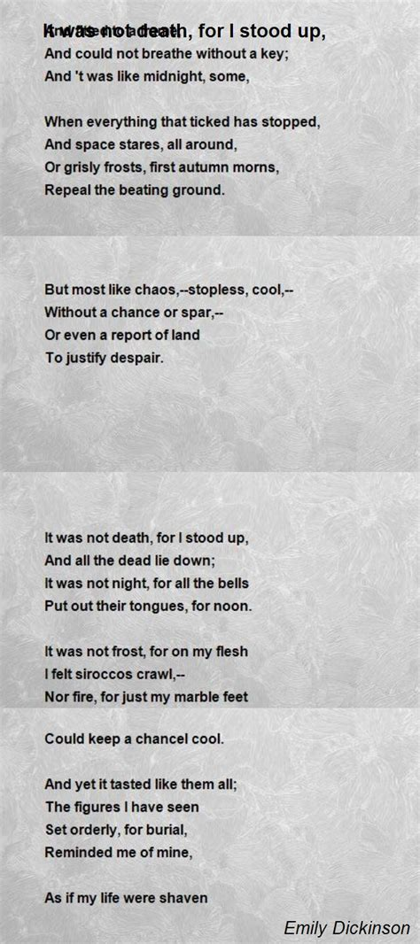 emily dickinson biography poem hunter it was not death for i stood up poem by emily dickinson