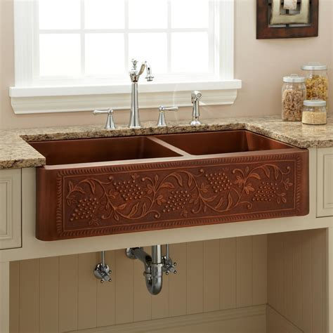 copper farm sinks for kitchens 42 quot heartridge 60 40 offset bowl copper farmhouse