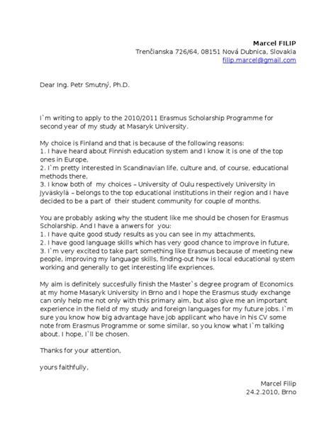 Letter Of Recommendation For Erasmus Mundus Scholarship erasmus cover letter exles cover letter