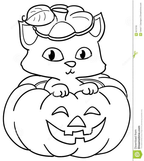 coloring pages black cats for halloween pumpkin and cute cat coloring stock vector illustration