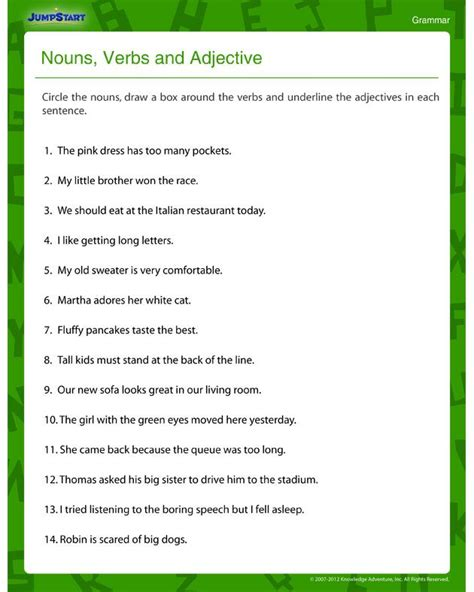 Nouns Verbs Adjectives Worksheet by 1000 Images About Noun Verb Adjective Activities On