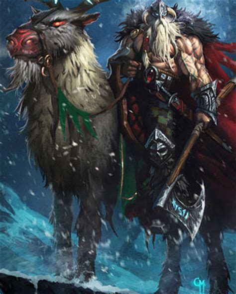 fantasy viking santa riding reindeer geek art geektyrant
