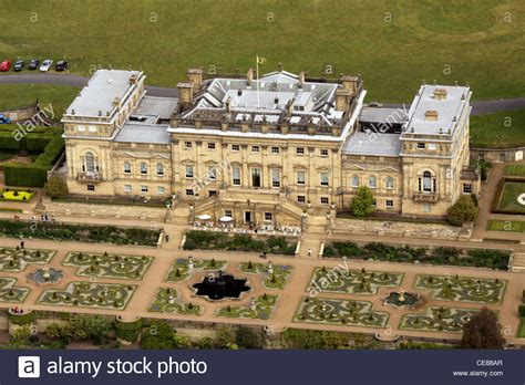 aerial view of harewood house stately home of leeds