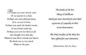 Double acknowledgements kennedy printers bantry ireland memoriam