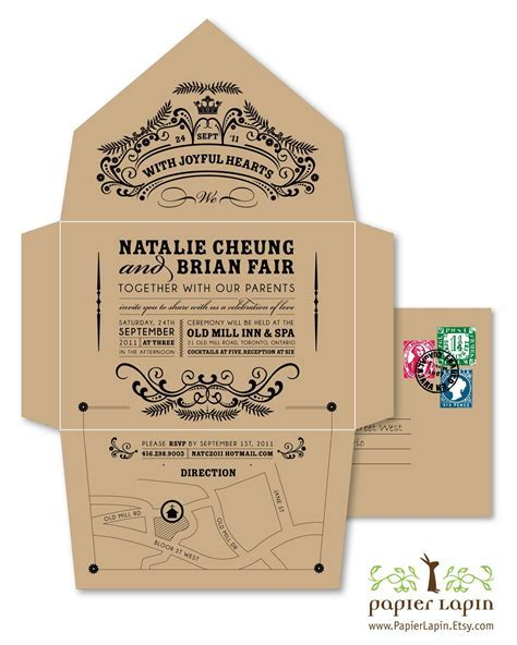 Retro, vintage inspired recycled wedding invitation on