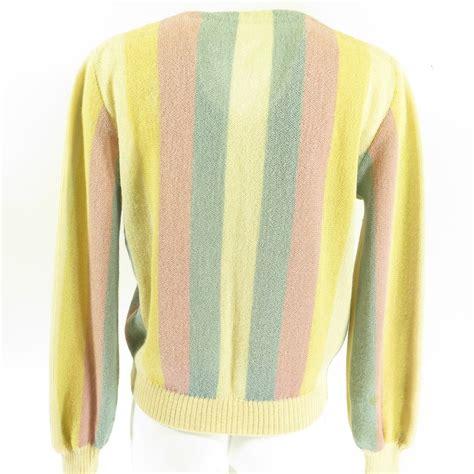 Cardigan Venna vintage 50s alpaca pastel stripe cardigan sweater l of vienna wool the clothing vault