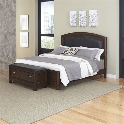 home styles crescent hill upholstered home styles crescent hill king leather upholstered bed and