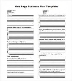 One Page Business Plan Template Word by One Page Business Plan Sle 8 Documents In Pdf