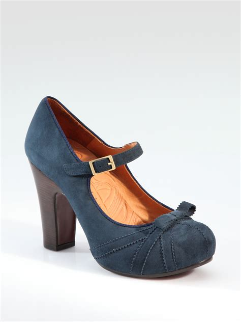 Matilda Navy Leather Stacked Heels chie mihara suede pumps in blue lyst