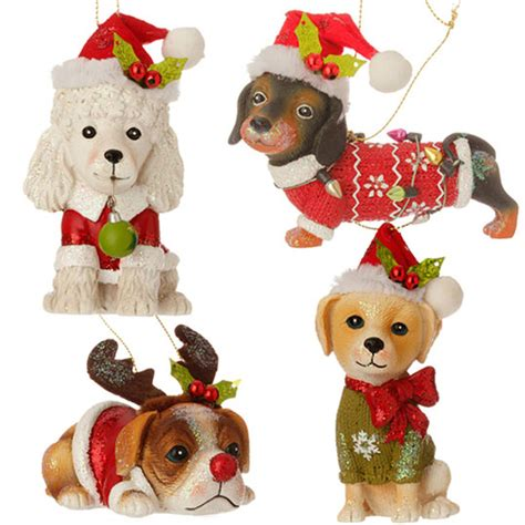 christmas dog ornaments set 4