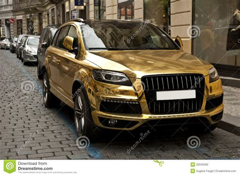 gold glitter car metallic gold car stock photo image of parked