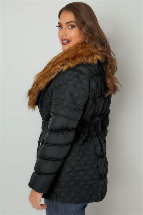 H And M Gift Card Balance Check - black quilted puffer jacket with tan faux fur collar elasticated belt plus size 16 to 36