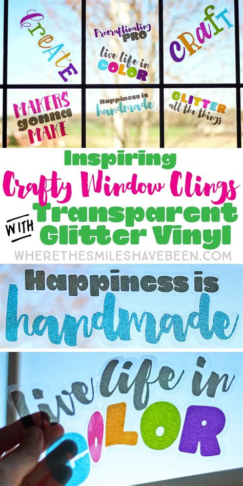 Vinyl Giveaway - inspiring crafty window clings with transparent glitter vinyl giveaway