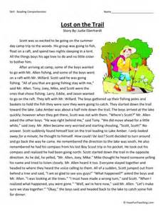 reading comprehension worksheet lost on the trail