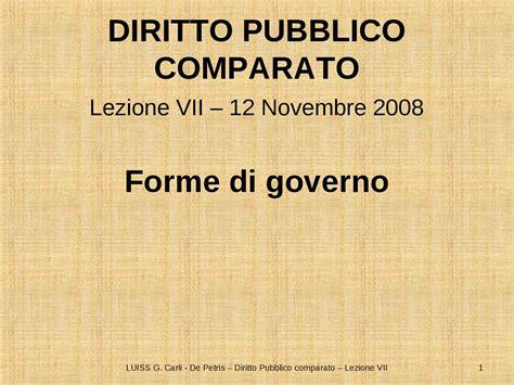 dispensa diritto pubblico forme di governo parte prima dispense