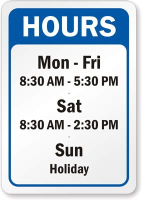 business hours sign template business hours signs