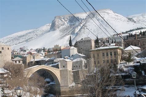 Ottoman Bosnia Mostar Bridge Winter Snow Ottoman Empire Ottoman Mosque Bosnia And