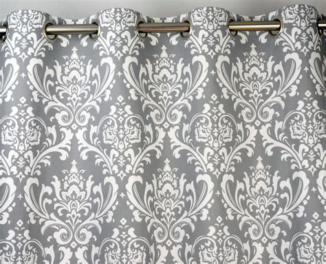 grey damask curtains pair of grommet top curtains in storm gray grey and by