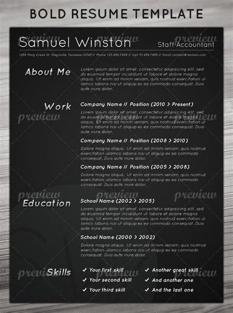 Dark Bold Resume Print Pinterest Resume Bold And Dark Bold Resume Template