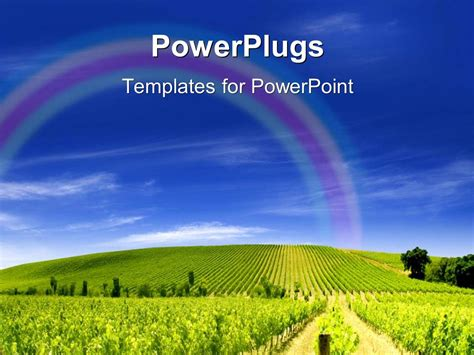 Powerpoint Template A Lot Of Crops And Clouds In The Background 1431 Agriculture Powerpoint Templates
