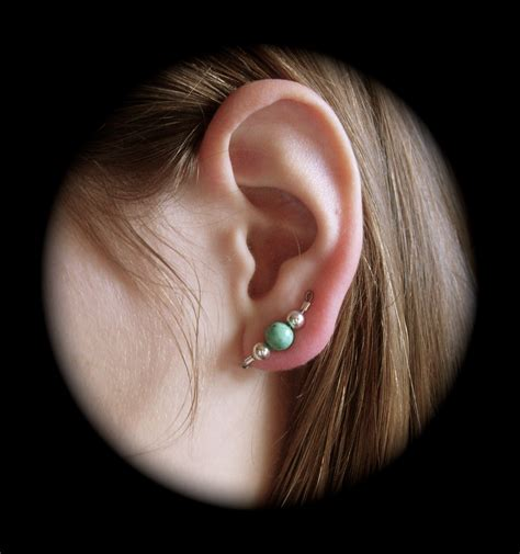 ear climber earrings versatile style turquoise and silver ear pins ear
