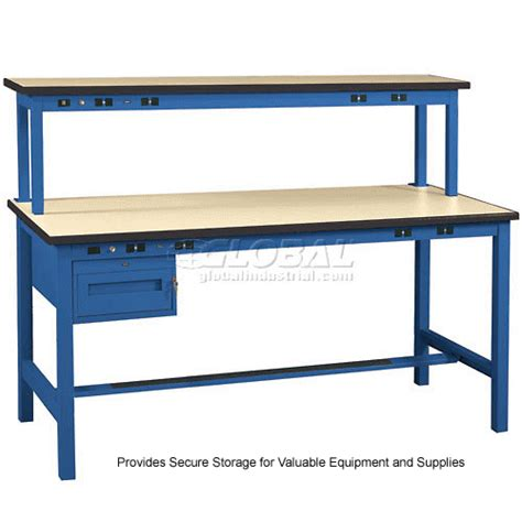 bench tech work bench with electric fixed height utility drawer