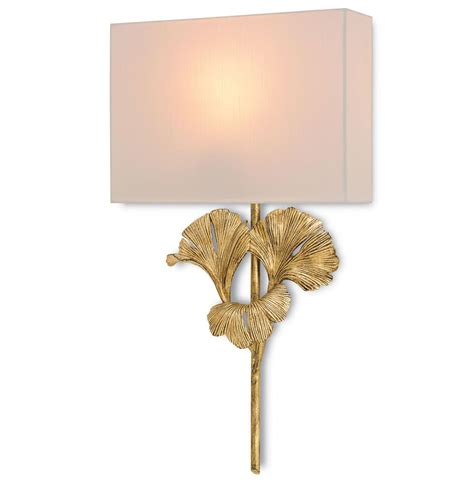 Gold Wall Sconces Gingko Leaf Antique Gold Wall Sconce Kathy Kuo Home