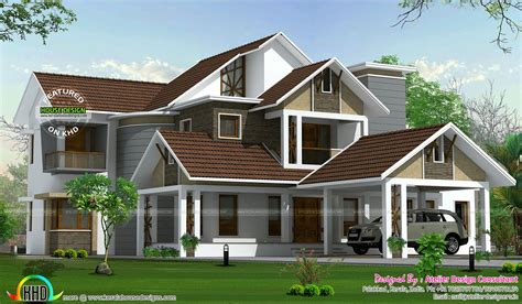 kerala sloped roof home design beautiful slope roof home kerala home design and floor plans