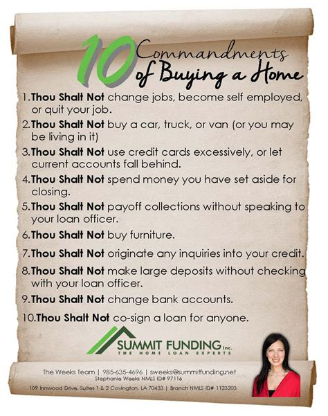 buying an home 10 commandments of buying a home