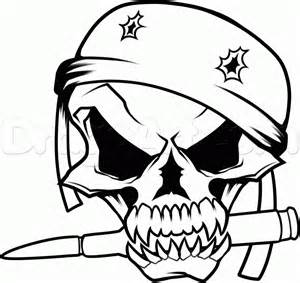 Draw a military skull step by step drawing sheets added by dawn