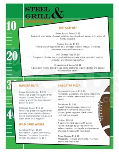 sports bar menu template bar football menu template sports bar menus