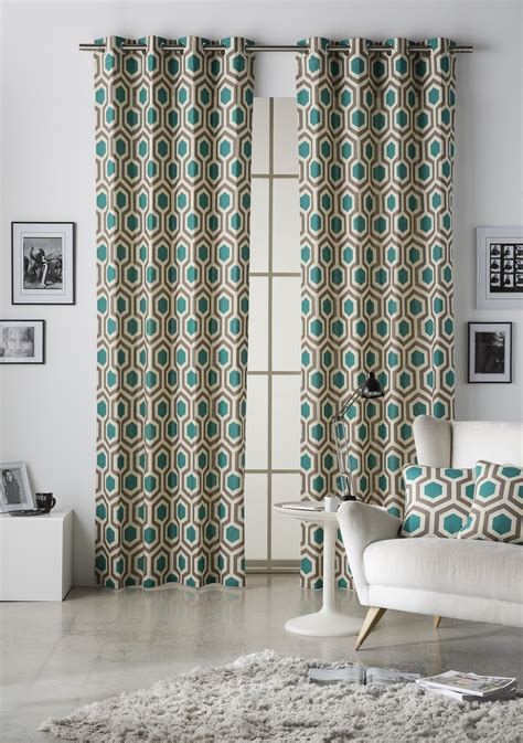 teal eyelet lined curtains geometrical hexagon teal walnut lined eyelet curtains