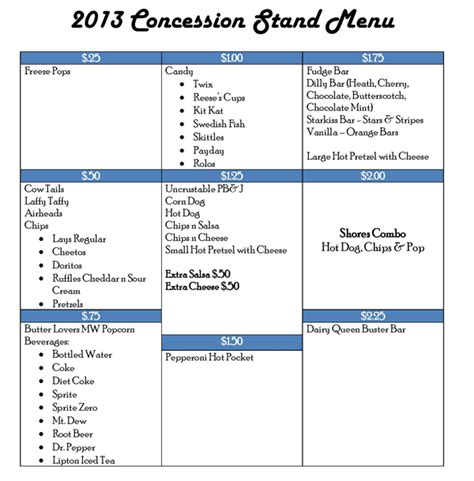 2013 concession stand menu romerock association