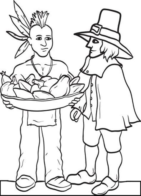 thanksgiving coloring pages indian free printable pilgrim and indian coloring page for kids 3