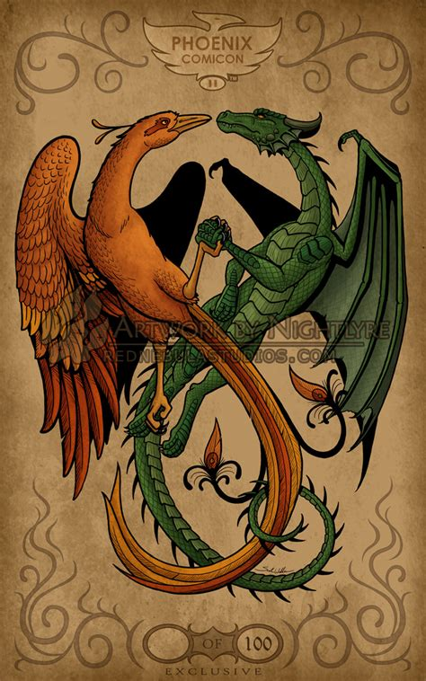 dragon and phoenix tattoo the and the by nightlyre mystic alchemy