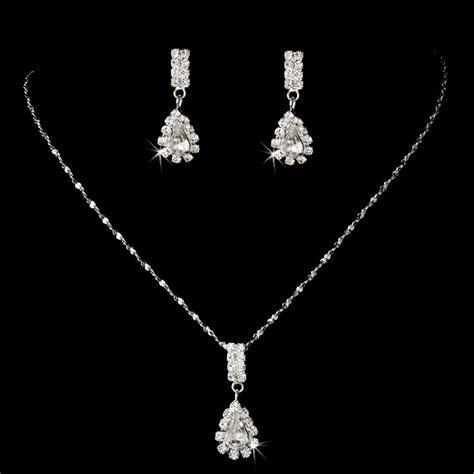 affordable rhinestone teardrop bridesmaid jewelry set
