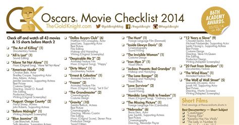 oscars 2016 download our printable movie checklist the oscars 2014 download our printable movie checklist the