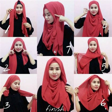 tutorial hijab paris wajah bulat simple tutorial jilbab modern modis terbaru terbaru 2015