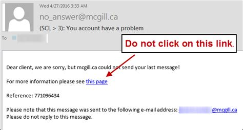 Security Warning Phishing Malicious Attachments It Services Mcgill University Phishing Awareness Email Template