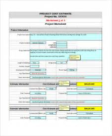 estimate template excel sle project estimate template 8 free documents