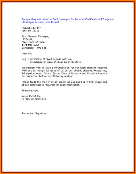 bank certification letter request sle bank certificate request letter images