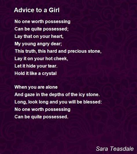 Wedding Advice Poem by Advice To A Poem By Teasdale Poem
